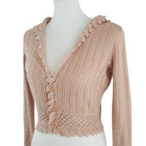 Lilu Blush Angora Crochet Hooded Crop Sweater